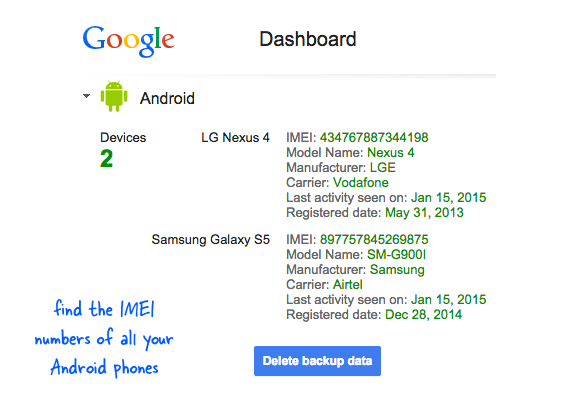 IMEI number of lost android device