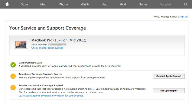 Apple Product Warranty Status