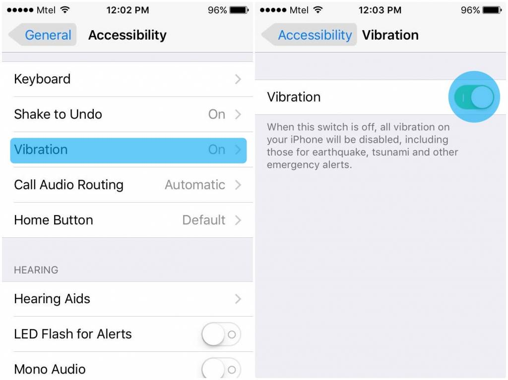 Disable Vibration Alerts on iOS 9