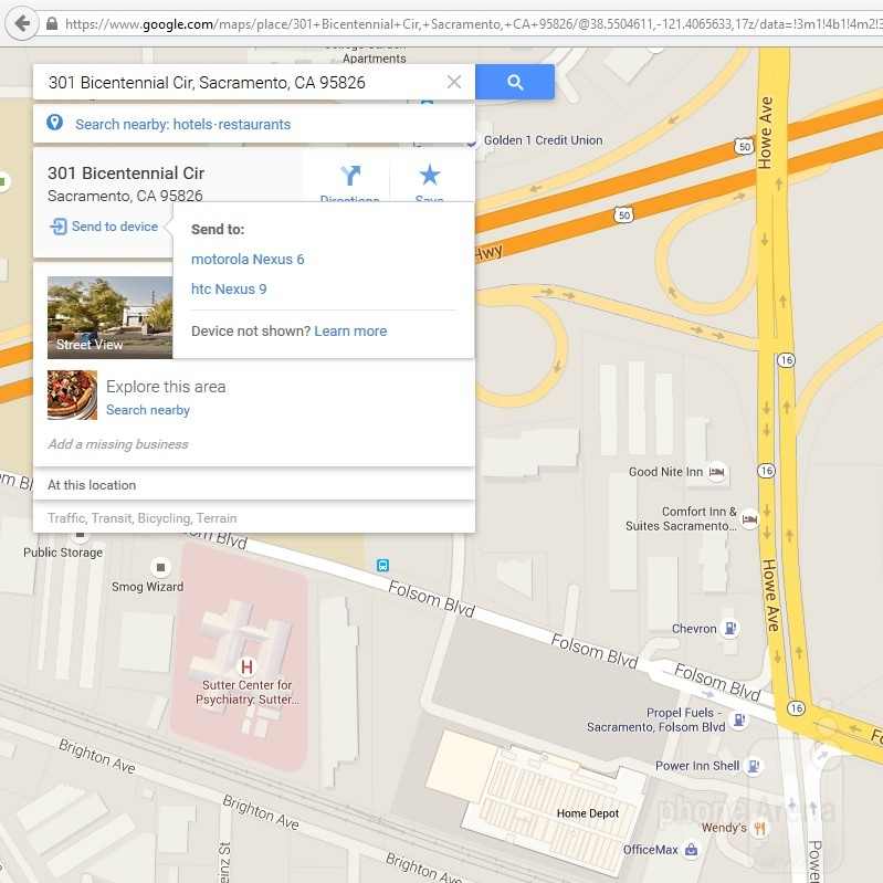 Send Google Maps Directions from Desktop to Android