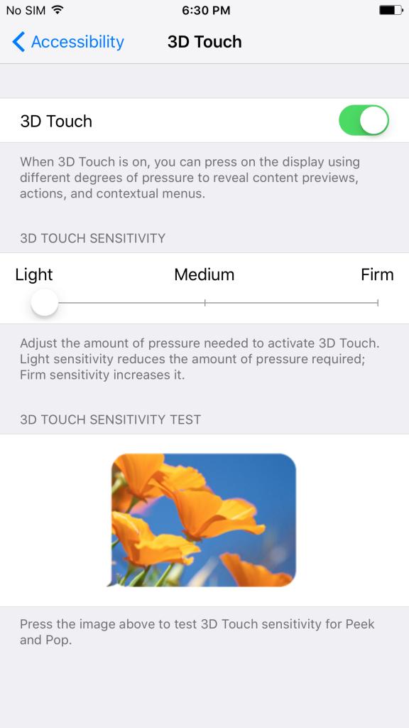Adjust 3D Sensitivity of iPhone 6s