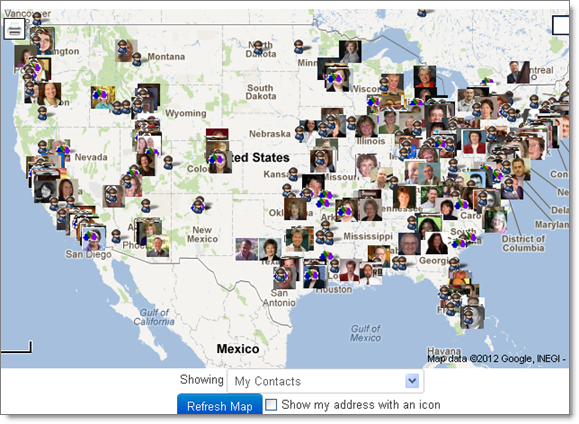 Google Contacts on a Google Map