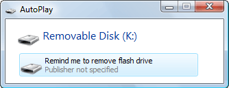 Reminder to Disconnect Your USB Flash Drive