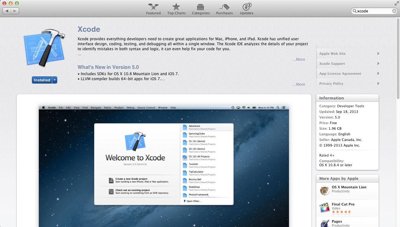 xcode in appstore